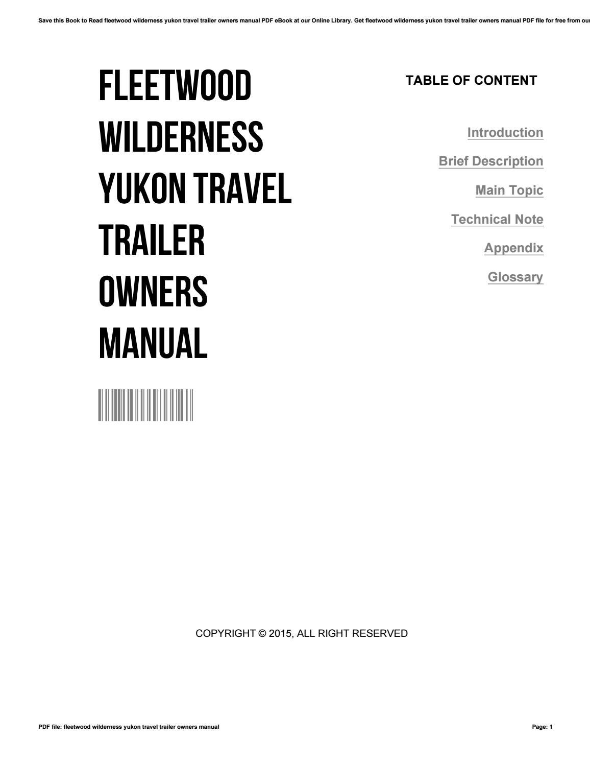 fleetwood tent trailer owners manual